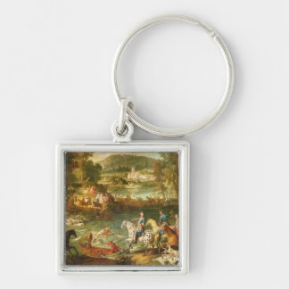 Hunting at the Saint-Jean Pond in the Forest Silver-Colored Square Keychain