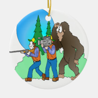 Hunting Bigfoot Ceramic Ornament