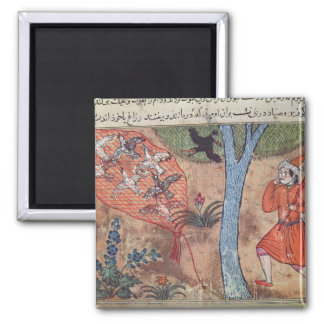 Hunting Birds, from 'The Book of Kalila and 2 Inch Square Magnet