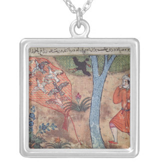 Hunting Birds, from 'The Book of Kalila and Silver Plated Necklace