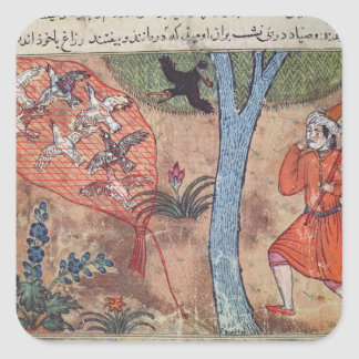 Hunting Birds, from 'The Book of Kalila and Square Sticker