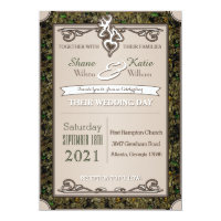 Hunting Buck And Doe Camouflage Wedding Invitation