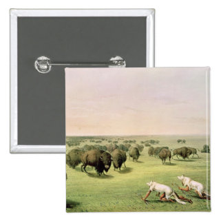 Hunting Buffalo Camouflaged 2 Inch Square Button