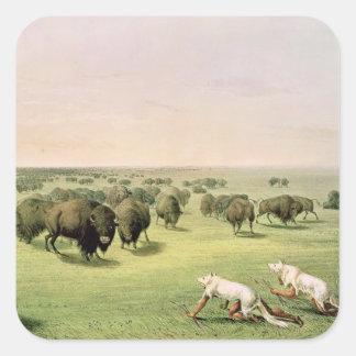 Hunting Buffalo Camouflaged Square Sticker