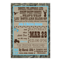 Hunting Camo Baby Boy Shower Invitations Blue Trac