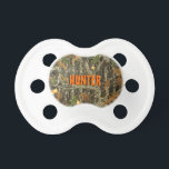 """Hunting Camo Pacifier w/ Personalized Name<br><div class=""""desc"""">If you need custom colors or assistance in creating your design,  feel free to contact me at zazzlepartydepot@gmail.com. I look forward to hearing from you!</div>"""