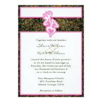 Hunting Camo Pink Custom Outline Color Invitation