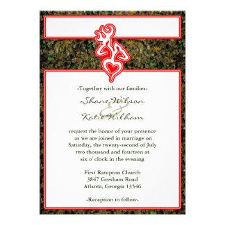 Hunting Camo Red Custom Outline Color Invite Custom Invitation