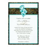"Hunting Camo Turquoise Custom Outline Color Invite 5"" X 7"" Invitation Card"