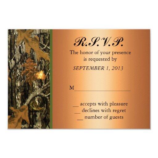 "Hunting Camo Wedding RSVP Invite 3.5"" X 5"" Invitation Card"