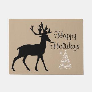 Hunting christmas deer tree doormat