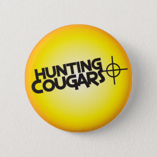 hunting cougars on a square bullseye target button