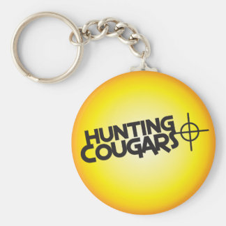 hunting cougars on a square bullseye target keychain