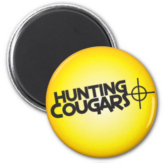 hunting cougars on a square bullseye target magnet