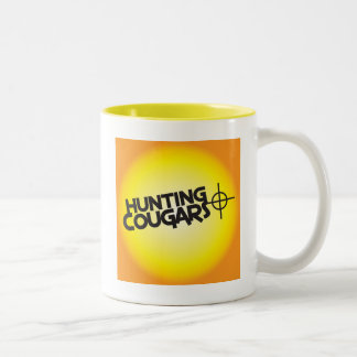 hunting cougars on a square bullseye target Two-Tone coffee mug
