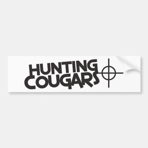 hunting cougars with bullseye and target bumper sticker