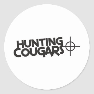 hunting cougars with bullseye and target classic round sticker