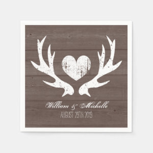 Hunting country chic deer antler wedding napkins