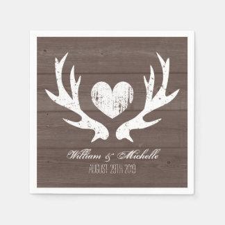 Hunting country chic deer antler wedding napkins