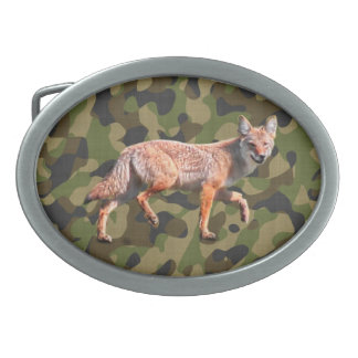Hunting Coyote on Camoflage BG - American Jackal Belt Buckle