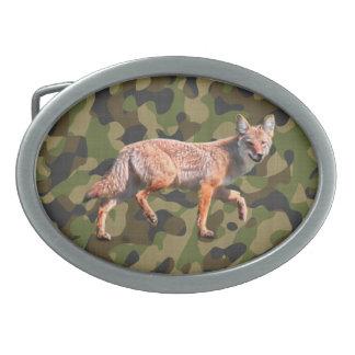 Hunting Coyote on Camoflage BG - American Jackal Belt Buckle