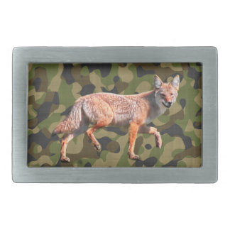 Hunting Coyote on Camoflage BG - American Jackal Rectangular Belt Buckle