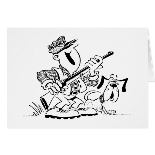 Hunting Dog Cartoon Card