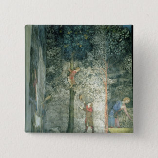 Hunting dogs and men climbing a tree pinback button