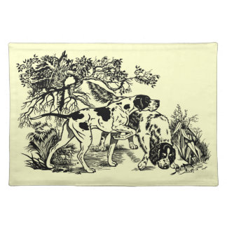 hunting dogs cloth placemat