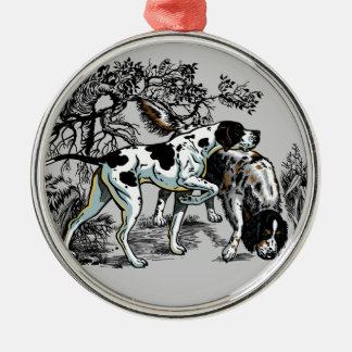 hunting dogs metal ornament