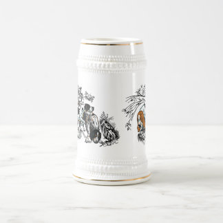 hunting dogs 18 oz beer stein