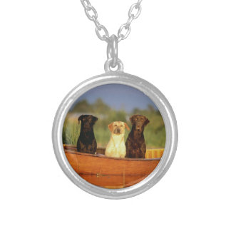 Hunting Dogs Round Pendant Necklace