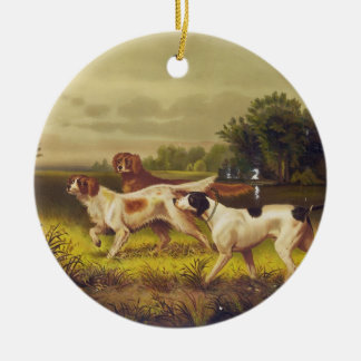 Hunting Dogs Sport in July by Hoover Ceramic Ornament