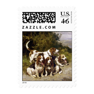 Hunting Dogs Vintage Art Postage Stamps