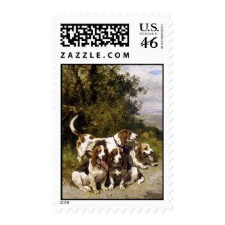 Hunting Dogs Vintage Art Postage Stamps - Medium