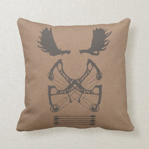 Hunting Emblem Pillow | {Moose & Compound Bow}