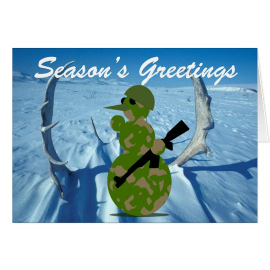 Hunting EMO Snowman Greeting Card