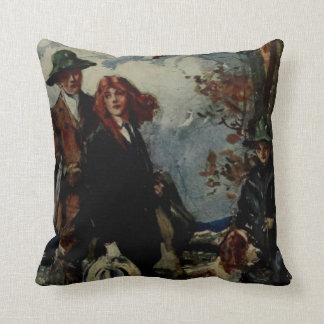 Hunting Family With Dog Vintage Artwork Throw Pillow