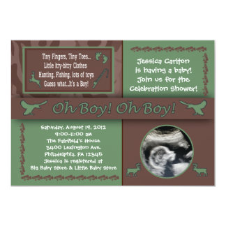 "Hunting & Fishing Baby Shower Invitations 5"" X 7"" Invitation Card"
