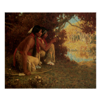 Hunting for Deer by Couse, Vintage Native American Print