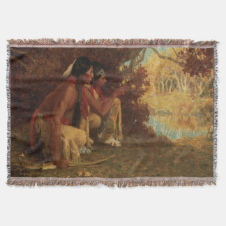 Hunting for Deer by Couse, Vintage Native American Throw Blanket