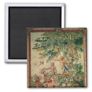 Hunting, from the 'Tenture des Nouvelles 2 Inch Square Magnet