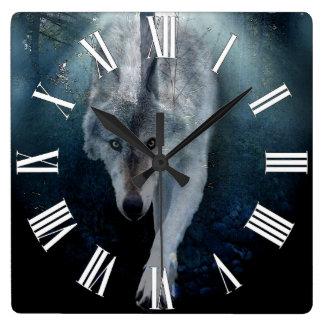 Hunting Grey Wolf Wildlife Art Clock