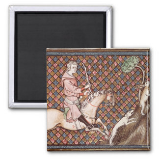 Hunting Hares, from Ovide Moralise 2 Inch Square Magnet