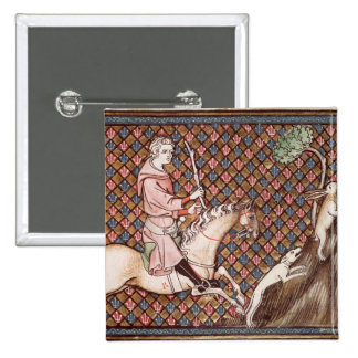 Hunting Hares, from Ovide Moralise Pinback Button