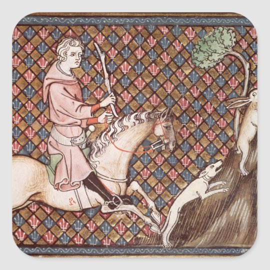 Hunting Hares, from Ovide Moralise Square Sticker