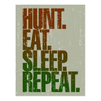 Hunting Hunter 'Hunt, Eat, Sleep, Repeat' Postcard