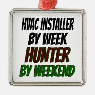 Hunting HVAC Installer Square Metal Christmas Ornament
