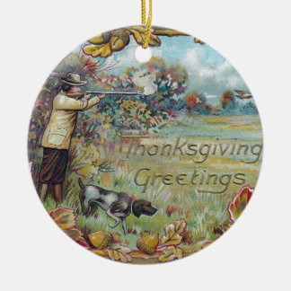 Hunting in Autumn Vintage Thanksgiving Ceramic Ornament