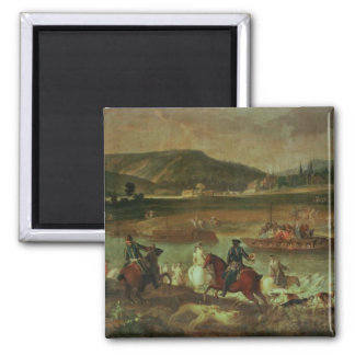 Hunting in the Forest at Compiegne 2 Inch Square Magnet